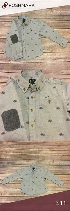 No Retreat Bike Shirt, 2T No Retreat Bike Shirt, 2T, EUC chambray button down shirt with embroidered bicycles and navy elbow patches. No Retreat Shirts & Tops Button Down Shirts