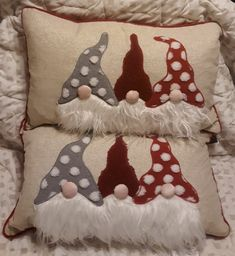 Gnome Christmas Pillows on Mercari Christmas Patchwork, Christmas Cushions, Christmas Sewing, Christmas Gnome, Christmas Ornaments, Christmas Crafts To Make, Christmas Projects, Holiday Crafts, Applique Pillows