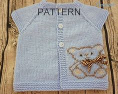 Knitting pattern for baby.Knitted baby cardigan,knit baby vest,Teddy vest.Pattern PDF.P016