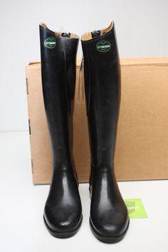 Womens Le Chameau Alezan Equestrian rain rubber Riding Black zip Boots 41 9  $550