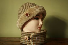 Harris Tweed Hat and Matching Neck Warmer by Ten10Creations