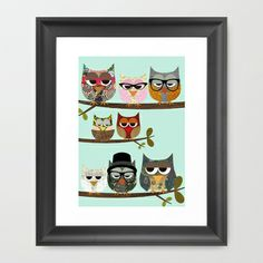 Nerd Owls - Me and my friends collage poster print Framed Art Print by Claudia Schoen - $35.00