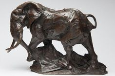 Bronze Wild Animals and Wild Life sculpture by artist David Mayer titled: 'African Bull Elephant (Small bronze Menacing sculptures/statuettes)'