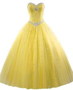 3641d1af20c Amazon.com  Erosebridal Long Prom Dress Tulle Sweetheart Beaded Quinceanera  Dress US 6 Yellow