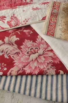 Lovely antique French fabrics for creative projects and design inspiration ~ ideal for clothing patches, pillows, small projects, lovely just used as a decorative touch to a shelf! ~ ideal for design inspiration ~ antique fabrics Project Bundle from France ~ www.textiletrunk.com