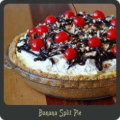 This may be one of my best desserts yet! A banana split in the form of a pie. How can one go wrong?!? You can't with this combination of ingredients. When I think of my childhood summers, banana sp…