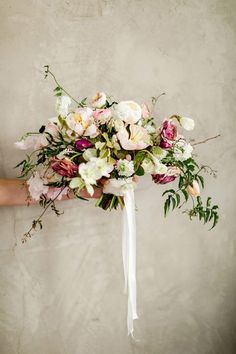 Best Bouquet Inspiration of 2016. Peach and Plum Hand Tied Bouquet. Photography by Rustic White Photography | Bouquet by Forage & Fleur | Design & Coordination by @mollymckdesigns.