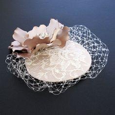 Tan Beige Facinator Bridal Mini Hat Wedding bridal by JerseyBride, $82.00