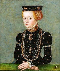 Cranach the Younger ~ Sophia Jagiellon, Duchess of Brunswick-Lüneburg ~ daughter of Sigismund I, King of Poland, and Bona Sforza. Sophia's maternal grandparents were Gian Galeazzo Sforza and Isabella of Naples, daughter of Alfonso II of Naples and Ippolita Maria Sforza.