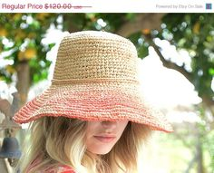 HAT ON SALE Hand crocheted raffia hat with turn up by JustineHats