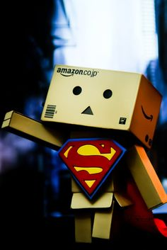 Superman Danbo uploaded by Lucka Šestáková on We Heart It Danbo, Miss Piggy, Cute Photos, Cute Pictures, Box Robot, Robot Costumes, Amazon Box, Be Your Own Hero, Cute Box
