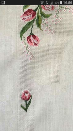 This Pin was discovered by Mur Cross Stitch Flowers, Cross Stitch Patterns, Cross Stitching, Handicraft, Needlepoint, Hand Embroidery, Diy And Crafts, Blog, Cross Stitch Pictures