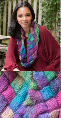 Free Knitting Pattern for an Entrelac Knit Cowl in Variegated Yarn