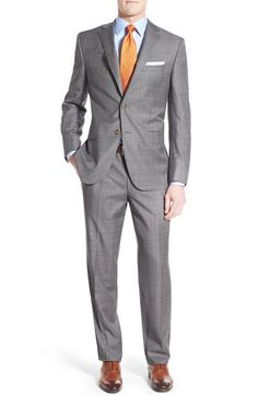 David Donahue Classic Fit Windowpane Wool Suit