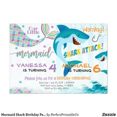 Shop Mermaid Shark Birthday Party Invitation Siblings created by PerfectPrintableCo. Sibling Birthday Parties, Combined Birthday Parties, Joint Birthday Parties, Twin Birthday, Mermaid Birthday, Pirate Birthday, Aries Birthday, Kylie Birthday, Turtle Birthday