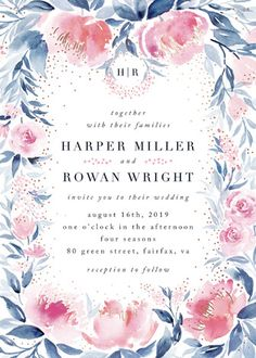 Monogrammed watercolor Floral & Botanical Foil-pressed Wedding Invitations in Blush.  Click to see more colors and 30+ water color wedding invites: http://www.confettidaydreams.com/watercolor-wedding-invitations/