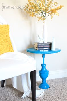 Old Lamp to Side Table Makeover by Thrifty and Chic.