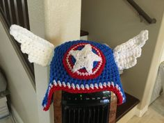 Super Cool Super Hero Hat with Wings  Handmade by SavvyNanaCrafts