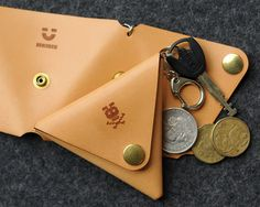 Triangle Leather Coin Case with Key Ring by bRainbowshop on Etsy