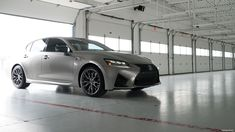 Exterior shot of the 2017 Lexus GS F shown in Atomic Silver.