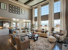 Two story open concept family rooms