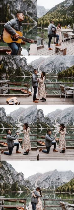 A surprise marriage proposal at Lago di Braies in the Dolomites. Photos by Wild Connections Photography. Wedding Photography Poses, Wedding Poses, Wedding Couples, Wedding Ideas, Romantic Surprise, Surprise Proposal, Surprise Wedding, Wedding Proposals, Marriage Proposals