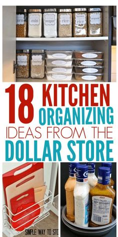 18 Genius Kitchen Organizing Ideas From The Dollar Store - Organization Obsesssed Organize your entire kitchen with just one trip to the dollar store! These Dollar Store organization ideas will declutter your kitchen and save you a ton of money! Organisation Hacks, Organizing Hacks, Storage Organization, Storage Ideas, Organising, Food Storage, Dollar Store Organization, Tupperware Storage, Tupperware Organizing
