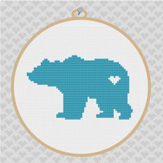 ... Bear Silhouette Cross Stitch PDF Pattern 002 by kattuna on Etsy, $3.50
