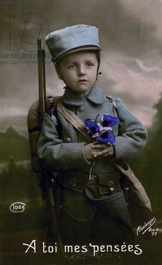 My Thoughts To You, 1915 (colour litho) WWI uniform