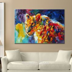 Animal Cheetah Oil painting On Canvas Painting For Living Room Wall Art Canvas Pop art modern abstract hand painted wallpaper