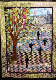 """Boston in the Spring"" by Rosanne F. Williamson.  Photo by Karen at Sew Fun 2 Quilt: 2014 Denver National Quilt show"