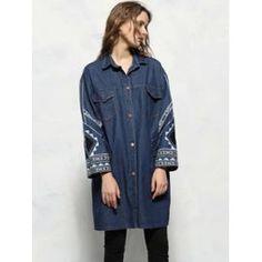 Veste Femme En Jean Grande Taille Manches Longues Avec Broderie Et Poches Bleue…