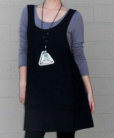 50ccf7ff5b BRYN WALKER Flax HEAVY Linen SHORT JUMPER A-line Tunic Dress S M L XL BLACK