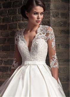Buy discount Marvelous Tulle & Satin V-Neck A-Line Wedding Dresses With Lace Appliques at Dressilyme.com