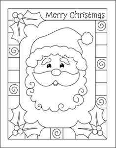 Christmas coloring cards for kids - printable free coloring cards - Santa - Christmas coloring pages