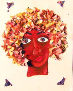 Nega - Criada á partir de estereótipo brasileiro. Colagem com cascas de lápis apontados e giz pastel oleoso.