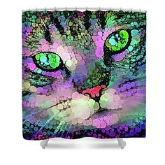 Surreal Cat Shower Curtain: Trippy cat, digital painting with purple, blue and green dots. Click through and get one. Art for your Home Decor and Interior Design needs by Matthias Hauser.