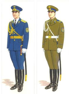 Officers' (left) and enlisted servicemen's (right) parade dress uniform of the Soviet Army honor guard cavalry squadron.