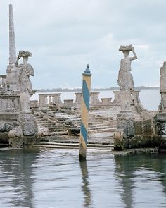 """Vizcaya - the stone-clad """"barge"""" was the site of magnificent parties and serves as a important breakwater for Vizcaya."""