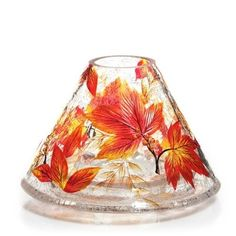 YANKEE-CANDLE-AUTUMN-LEAVES-CRACKLE-GLASS-JAR-CANDLE-SHADE-NWTS-RETIRED-RARE-HTF