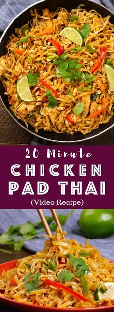 The easiest, most unbelievably delicious Chicken Pad Thai is full of authentic f. - The easiest, most unbelievably delicious Chicken Pad Thai is full of authentic favors and so much b - Easy Thai Recipes, Healthy Recipes, Easy Dinner Recipes, Cooking Recipes, Healthy Thai Food, Quick Recipes, Easy Weeknight Meals, Quick Meals, Asian Cooking