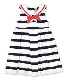 Sophie & Sam Navy Stripe Sailor Babydoll Dress - Infant, Toddler & Girls | zulily