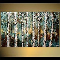 Abedul árbol pintura - pintura moderna paisaje de Osnat  Esta pintura con textura de confeccionar será similar al que ves aquí, que ya he vendido. Me tendrá 4 días hábiles para crearlo. La pintura se textura como voy a utilizar espátula para crearlo.  Nombre de la obra de arte: Venga más cerca y ver  Tamaño: 48 x 36  Pinturas de acrílico de espesor envuelven lona estirada  Los colores a utilizar son: la luz verde azulado, azul, blanco, óxido, amarillo, negro  Todos mis cuadros son creados…
