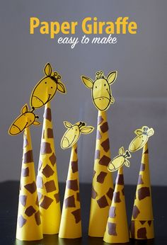 So easy to make!     	 Take a yellow sheet of paper and roll it into a cone.   	Glue it.   	Cut the cone so that it can stay upright.   	Draw the giraffe's head on the remaining piece.   	See how to draw a giraffe's head   	Take a piece of brown paper and tear it into small pieces. Glue