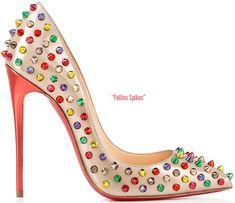 Christian-Louboutin-Follies Spikes in beige specchio leather with mutlicolor spikes and 120mm heel;