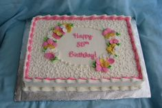 Pretty Birthday Cakes For Women | simple, pretty sheet cake for an 85th birthday party.