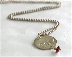 Stering Silver Hand Stamped FOXY Necklace With Red Crystal Stone - Jewelry by Jason Stroud.