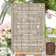 "Custom Wedding Welcome Table ""Merci Champêtre – bois"" - Home Page Wedding Party Games, Wedding Themes, Wedding Events, Wedding Decorations, Weddings, Wedding Welcome Table, Wedding Dress Cost, Wedding Tags, Wedding Planning Checklist"
