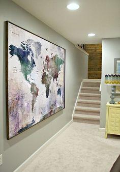 Watercolor world map art, Large map decor, home & office decor, push pin maps