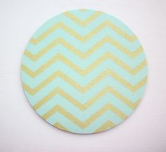 Round Computer Mouse Pad / Mat - metallic gold mint green chevron loj #UnbrandedGeneric  chic / cute / preppy / computer, desk accessories / cubical, office, home decor / co-worker, student gift / patterned design / match with coasters, wrist rests / computers and peripherals / feminine touches for the office / desk decor